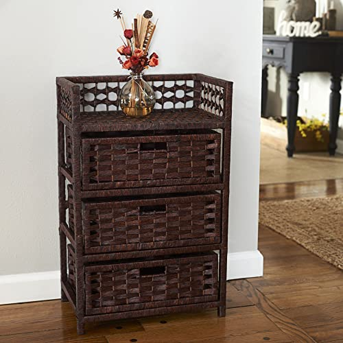 Household Essentials Hand-Woven Paper Rope 3-Drawer Chest