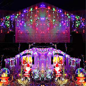 Joomer LED Icicle Lights,300 LED 19.6Ft 8 Modes with 60 Drops,Icicle Christmas Lights with Timer,Waterproof Connectable Outdoor String Lights for Holiday,Christmas,Wedding Decorations (Multi-Color)