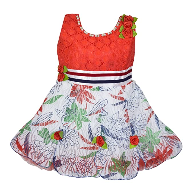 809216b3c Wish Karo Tomato Red Net Partywear Frock Dress for 12-18 Months Baby ...