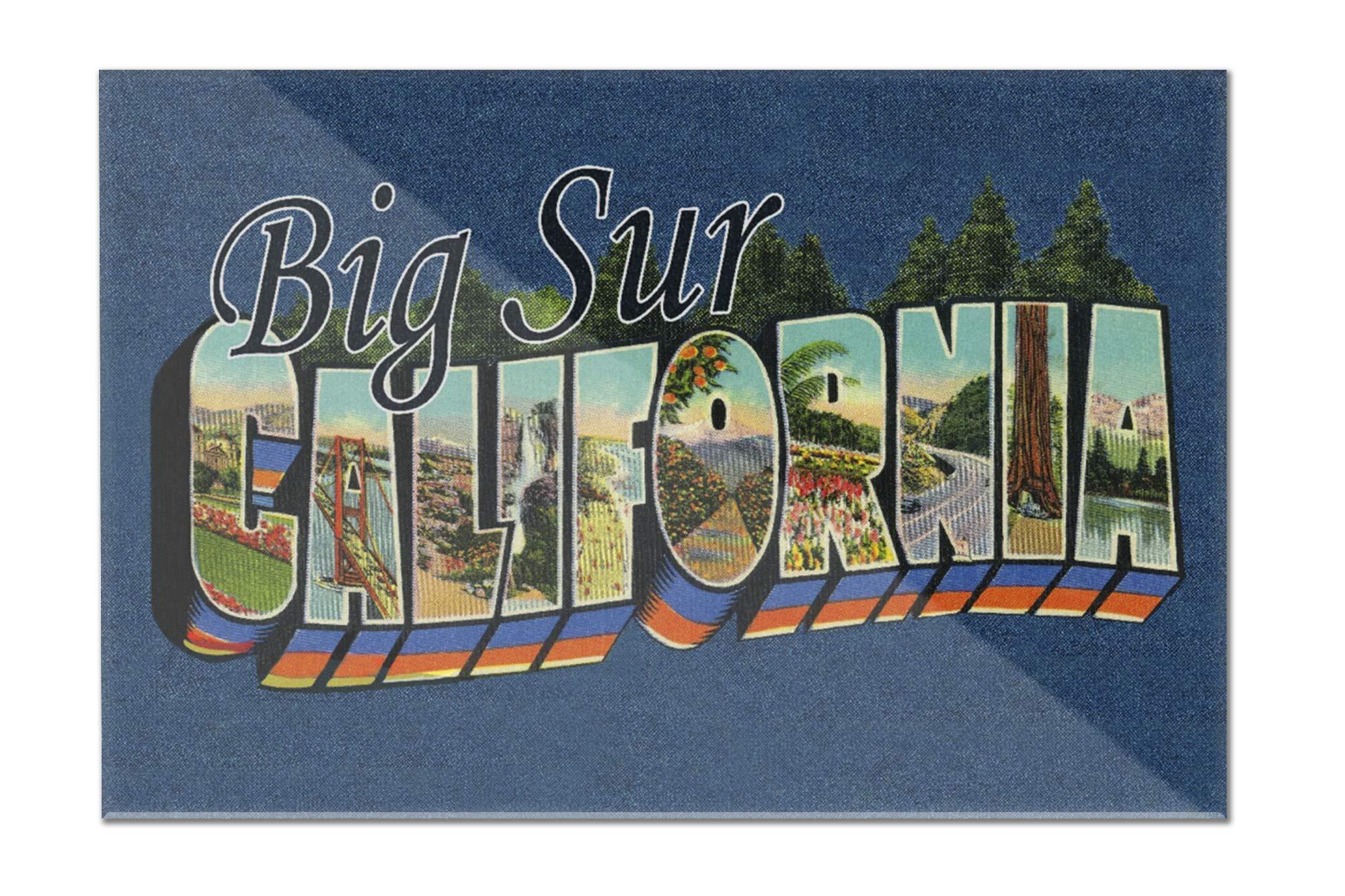 Big Sur, California - Greetings - Contour - Vintage Postcard 98253 (12x8 Acrylic Wall Sign)