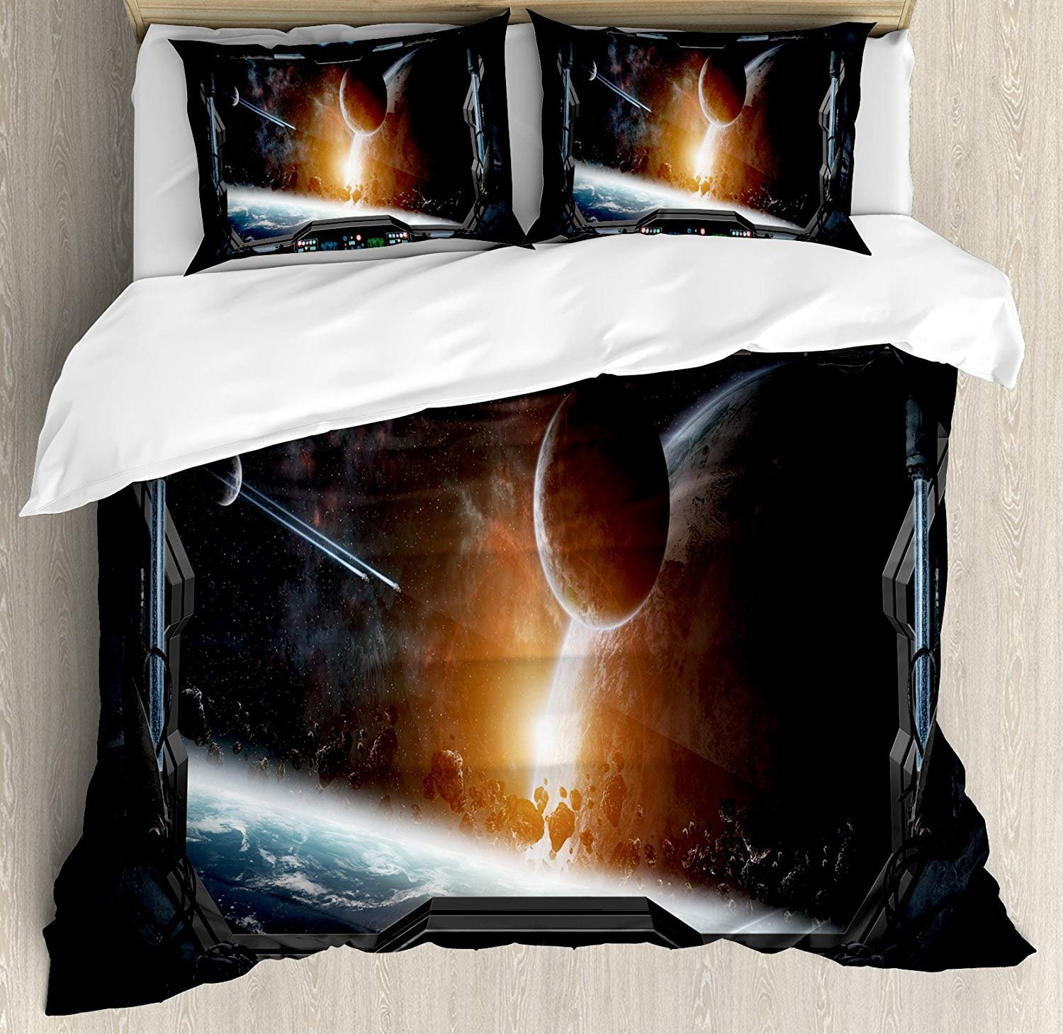 LALADecor Outer Space 4 Pieces Duvet Cover Twin Bedding Set (1 Duvet Cover+1 Flat Sheet+2 Pillow Shams) Scenery of Planets from The Window of a Shuttle Bodies Astronaut Space Station Gray Orange