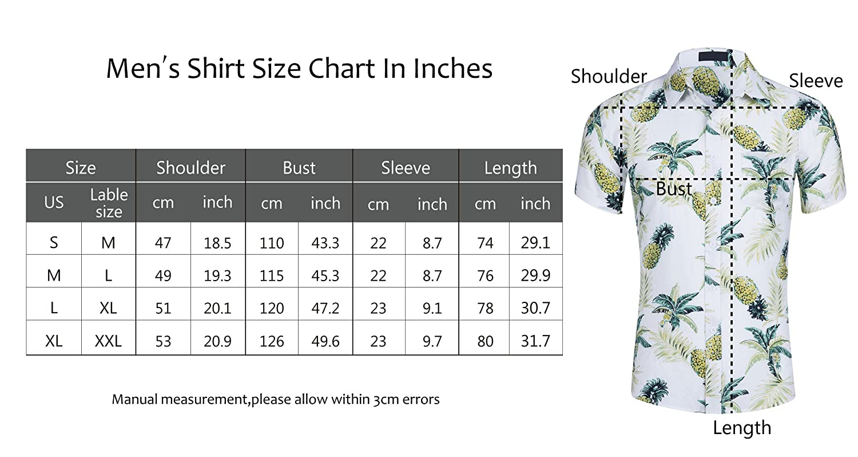 cfd6748a7 Amazon.com: Cyparissus Men's Casual Button Down Shirt Cotton Hawaiian Shirt  for Beach (L, White Yellow Pineapple Palm): Clothing