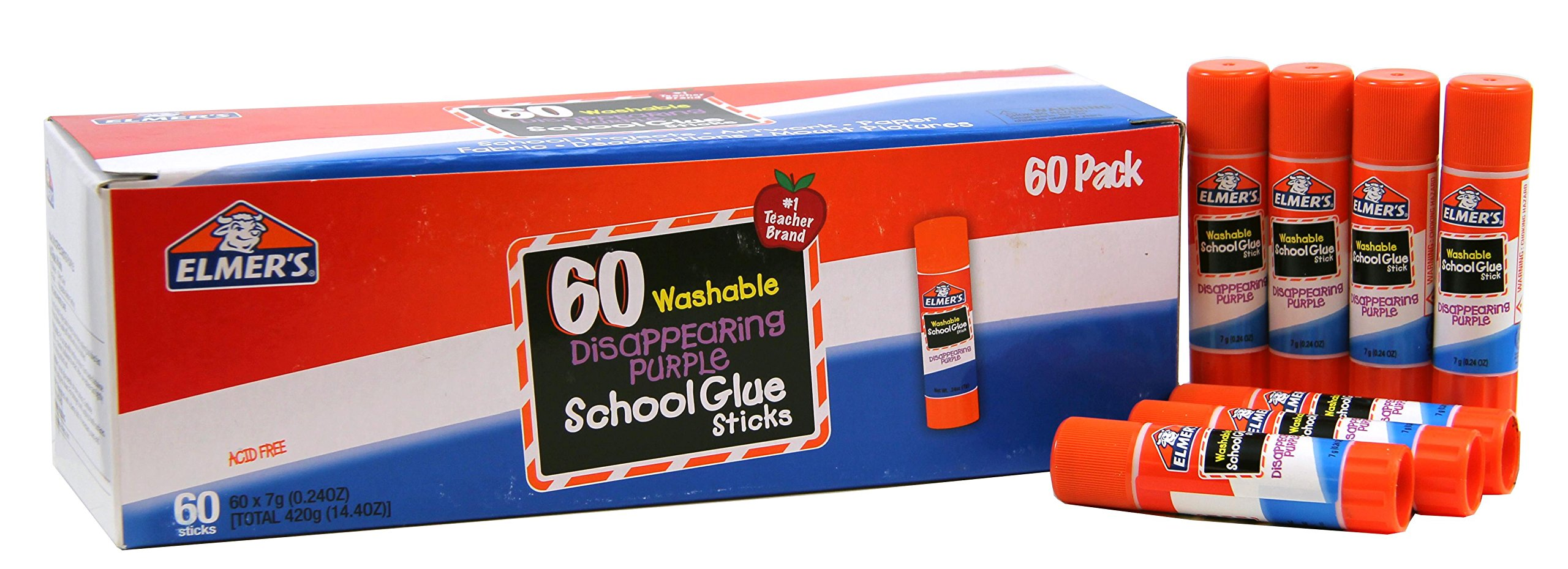 Elmer's Disappearing Purple School Glue, Washable, 60 Pack, 0.24-ounce sticks