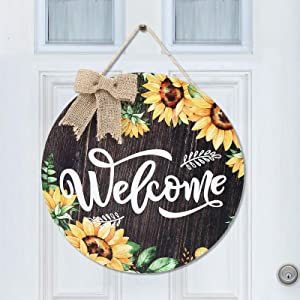 Sunflower Welcome Sign 12 x 12 Inches Rustic Sunflower Front Door Decor Farmhouse Porch Decoration Round Wooden Hanging Sign for Home, Restaurant, Shop (Wood Color)