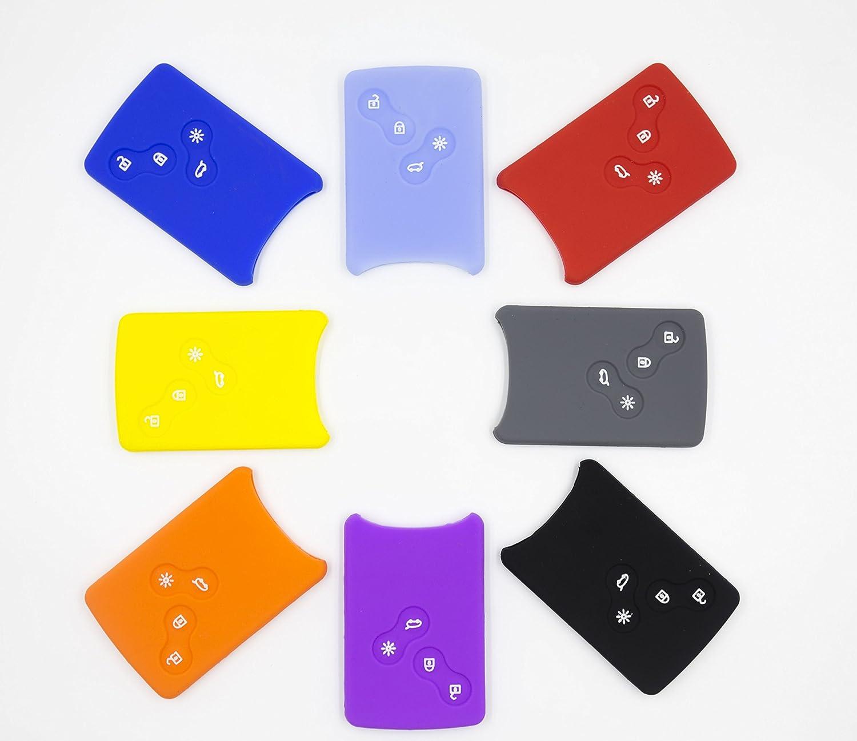 8Colors Silicone Fob Remote Smart Key Case Cover 1EA For Renault Fluence Koleos Latitude 4Button Light Blue