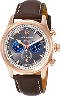 Jack Mason Mens Chronograph Watch Nautical Brown Italian Leather Strap JM-N102-026