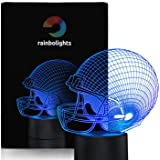 Football Helmet Night Light 7 Color LED Does Not Get Hot A Great Gift Idea for Him Boys or Dad. Perfect Sports Fan Gift By rainbolights