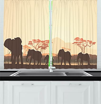 Ambesonne Africa Kitchen Curtains African Wildlife Safari Big Animal Elephants In Forest With Lake Nature