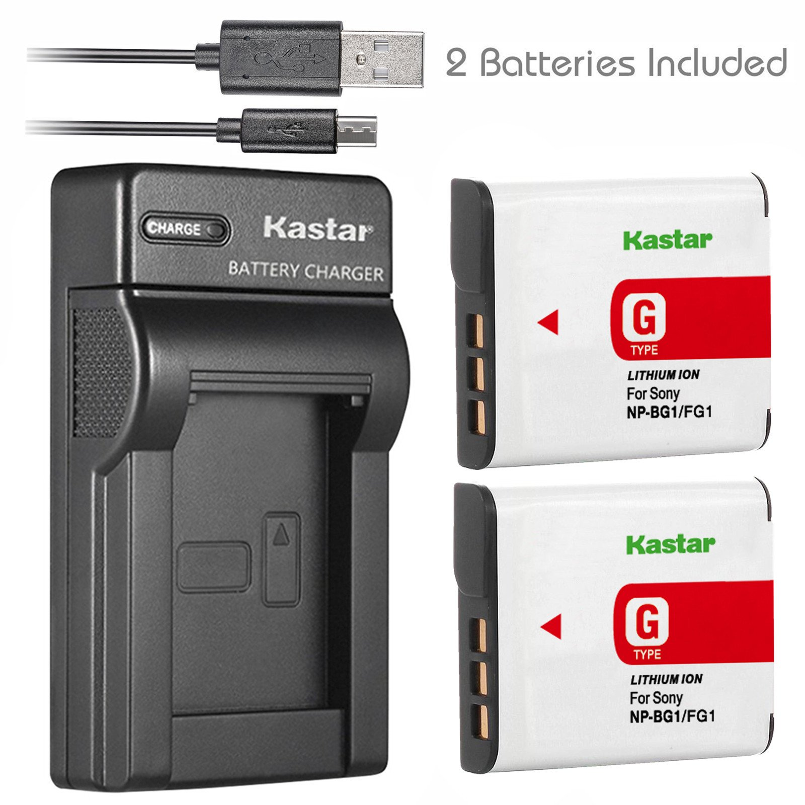 Kastar Battery (X2) & Slim USB Charger for Sony Cybershot DSC-HX5V, DSC-HX9V, DSC-W30, DSC-W35, DSC-W50, DSC-W55, DSC-W70, DSC-W80, DSC-W290, DSC-H10, H20, H50, H55, H70, H90 Battery+ More Cameras