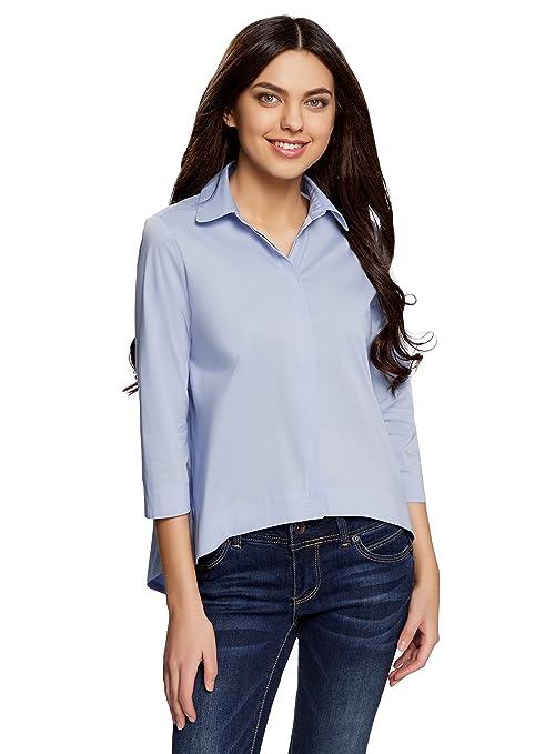 oodji Ultra Mujer Camisa Ancha con Espalda Larga: Amazon.es: Ropa y accesorios