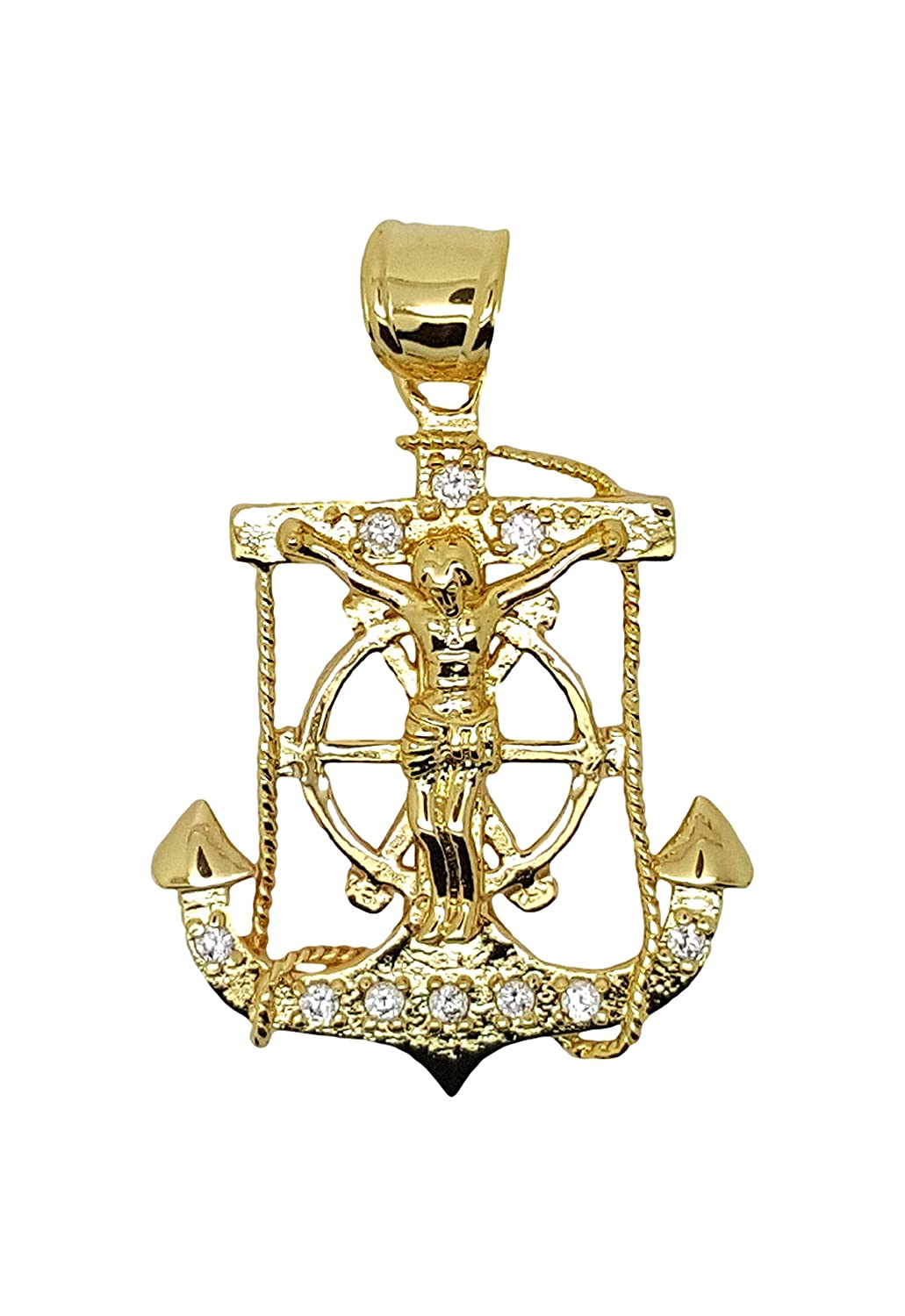14kt Gold Filled Anchor Cross Pendant Dije De Ancla Con Cruz Oro