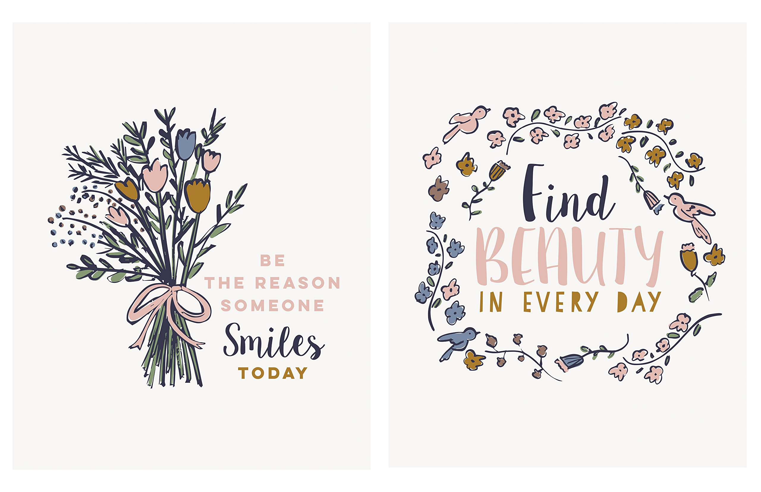 Lovely Inspirational Floral Ring and Bouquet ''Be The Reason Someone Smiles Today'' and ''Find Beauty In Every Day'' Set; Two 11x14in Unframed Paper Posters