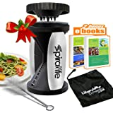 The Original SpiraLife Vegetable Spiralizer - Spiral Vegetable Slicer - Zucchini Spaghetti Maker and Recipe eBook Package - 2 Pasta Styles in One