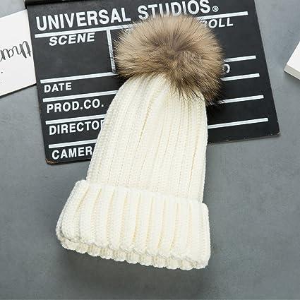Cappello Bambino Invernale Beanie Cappelli di Lana Berretto con Pon Pon da  Pingenaneer (Bianco) 6a47f1f83620