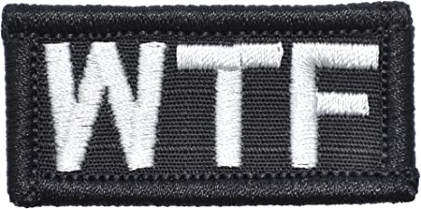 EMBROIDERED PATCH BLACK AND RED MADE IN U SA W.T.F