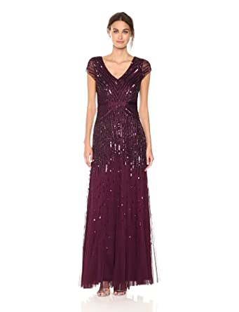 f177ec22e6871c Adrianna Papell Women's Long Beaded V-Neck Dress with Cap Sleeves and  Waistband, Cassis