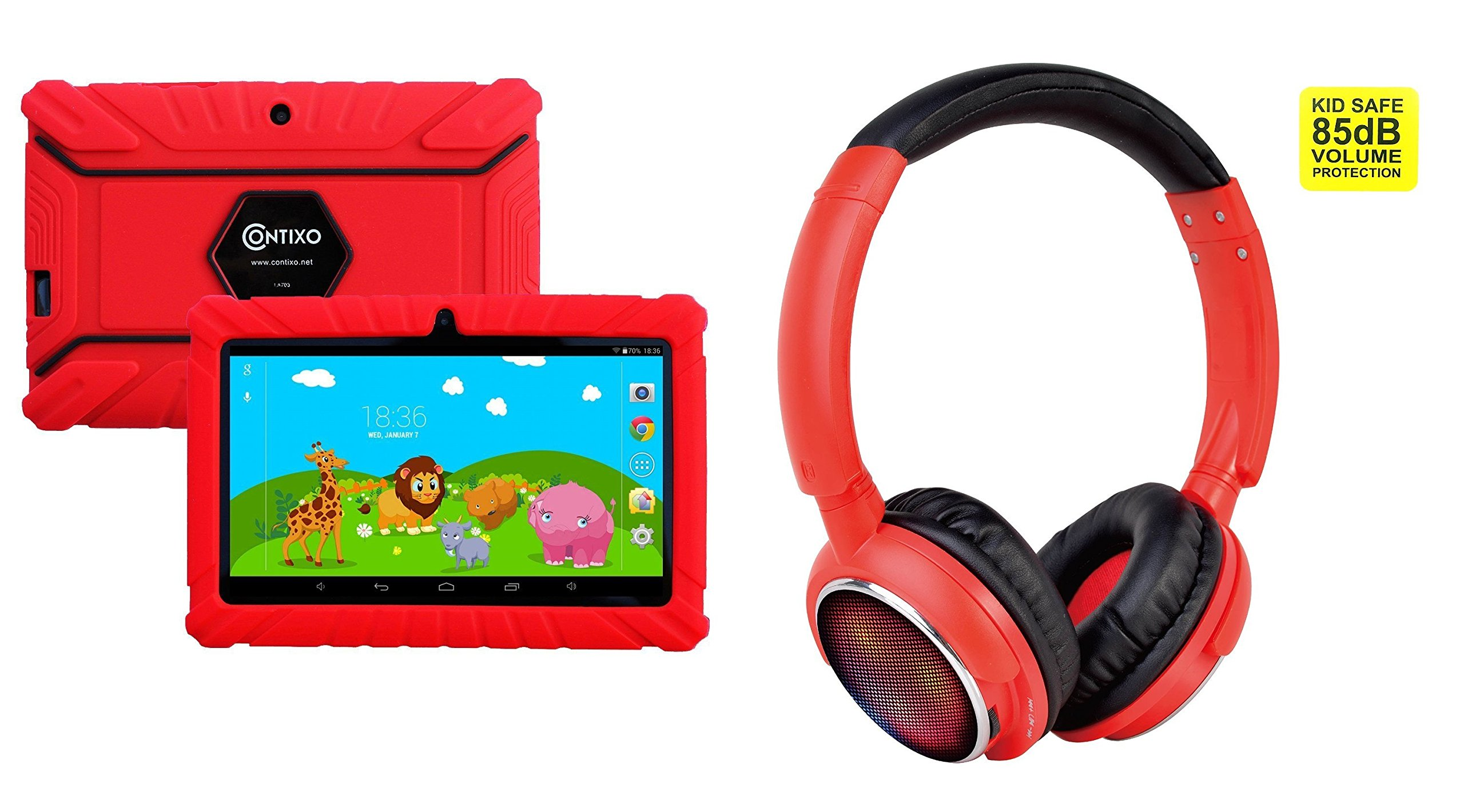 Contixo 7'' Educational Learning Kids Tablet 8gb & Kid Safe 85db Bluetooth Over The Ear Headphones Bundle (Red) - Best Gift