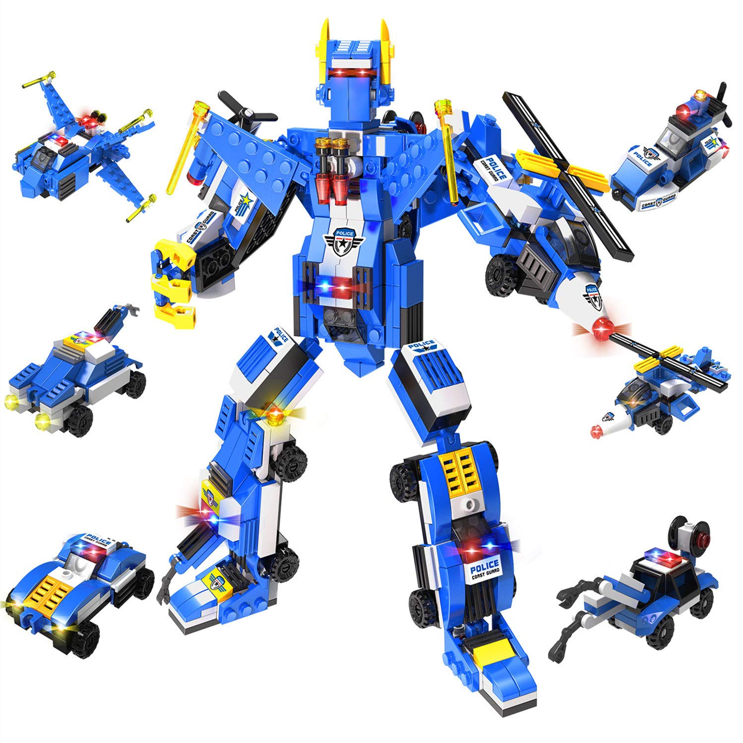 6-in-1 Robot STEM Toy Engineering Building Blocks Building Bricks Toy Kit, Transforming Construction Building Toys for Boys 6 Years Old or Older Tight Fit and Compatible with All Major Brands