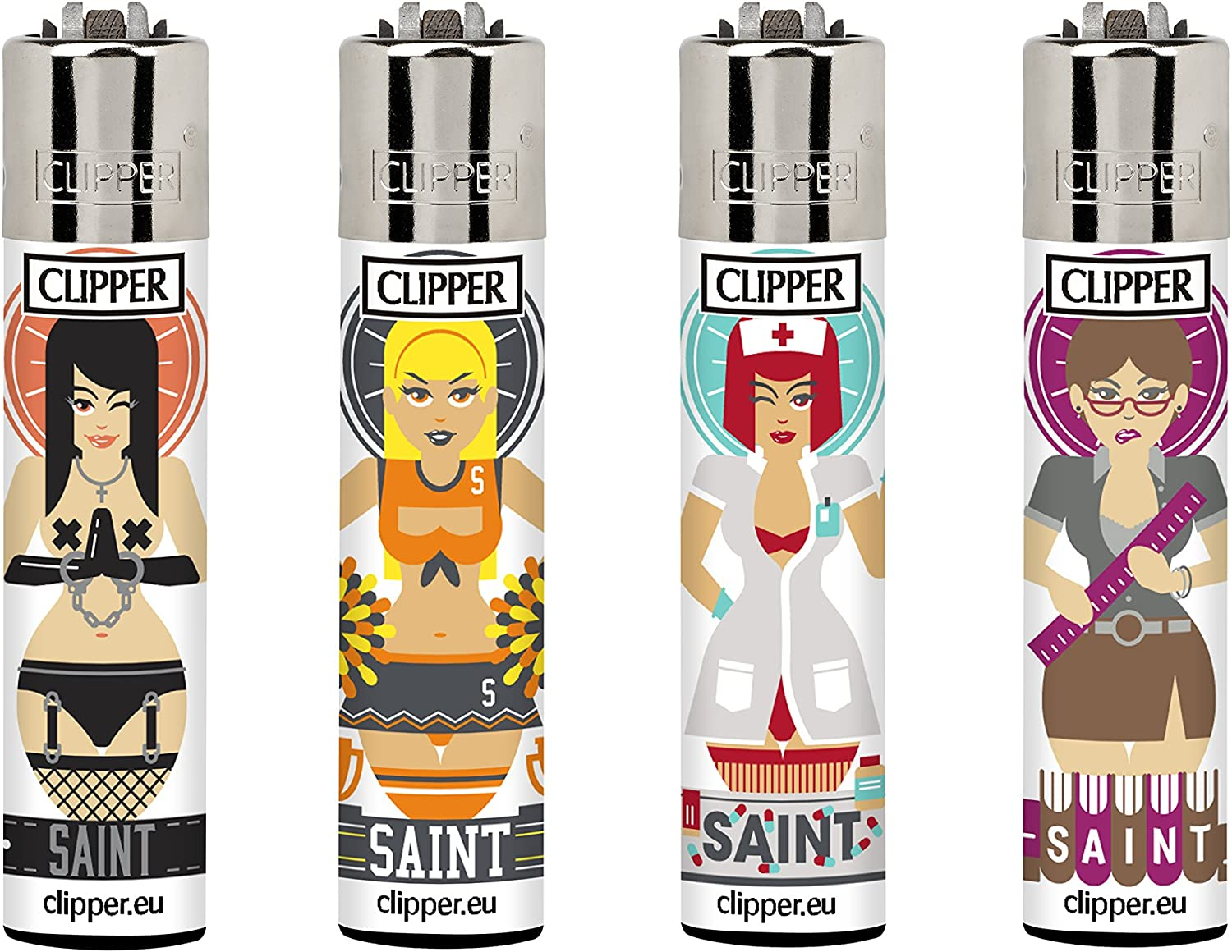 Clipper 64, Saints colección, pack de 4 encendedores: Amazon.es: Jardín