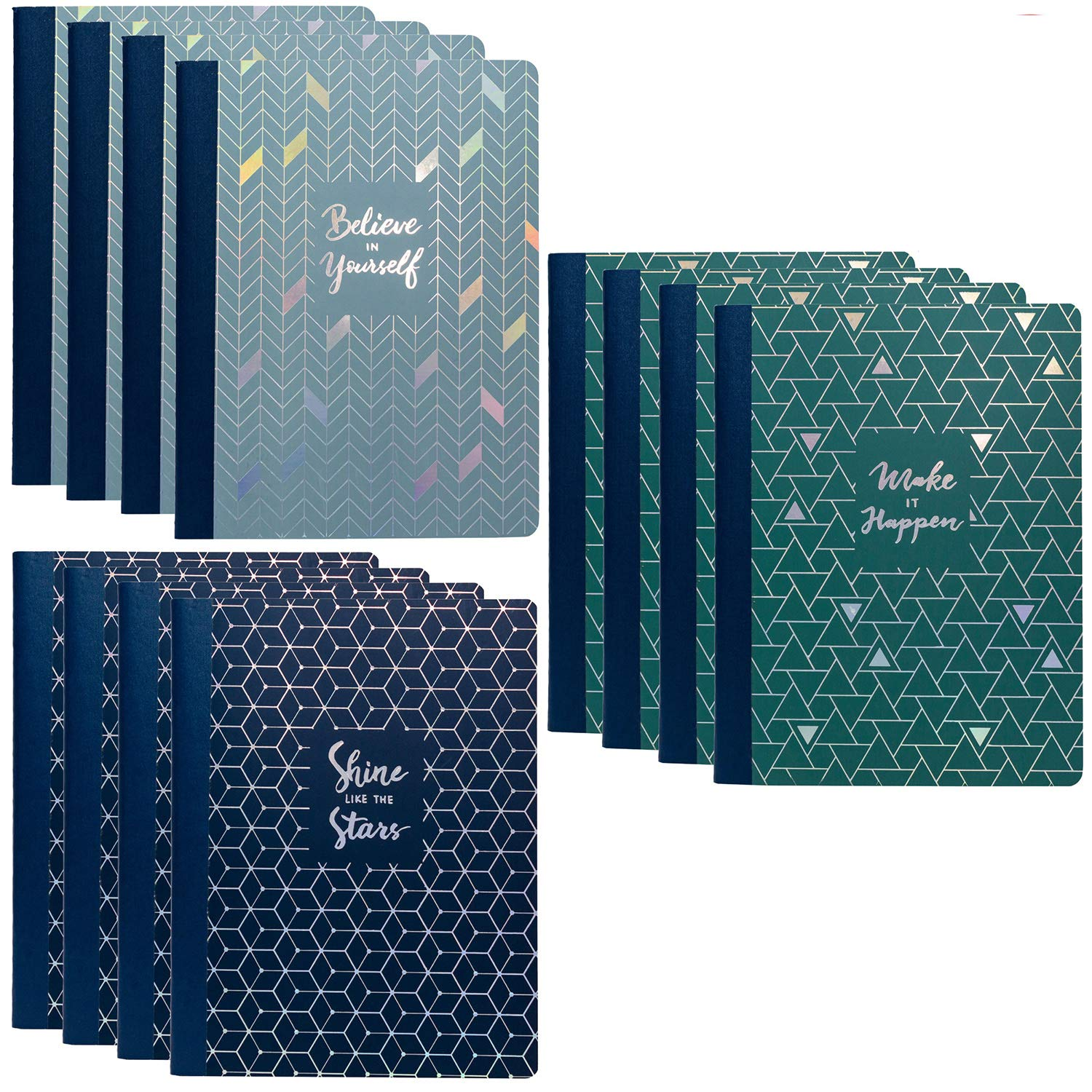 Pukka Pad 12-Pack Composition Notebook 70 Premium 80 GSM Ruled Sheets Glee: Lt Blue Dk Blue Green by Pukka Pad