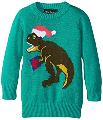 Amazon.com: Alex Stevens Boys' Ugly Christmas Sweater Santasaurus ...