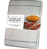 "Ultra Cuisine Stainless Steel Cooling Rack for Baking fits Jelly Roll Sheet Pan - Heavy Duty Wire Grid for Cookies, Cakes and Bread - Oven Safe for Roasting, Cooking, Grilling, Drying (10""x14.75"")"