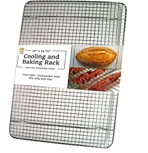 "Ultra Cuisine Heavy Duty Stainless Steel Cooling and Baking Rack fits Jelly Roll Sheet Pan - Cool Cookies, Cakes & Bread - Oven Safe Wire Grid for Roasting, Cooking, Grilling & Barbecue (10"" x 14.75"")"