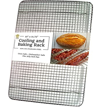 Ultra Cuisine 100% Stainless Steel Cooling and Baking Rack fits Jelly Roll Sheet Pan - Cool Cookies, Cake, Bread, Pie - Oven Safe Wire Grid for Roasting, Cooking, Grilling, BBQ, Smoking (10  x 14.75 )