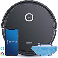 ECOVACS DEEBOT U2 Pro Smart Robotic Vacuum Cleaner 2 in 1 wet and dry Max 800ML dust bin, Up to 1600 Pa, Black