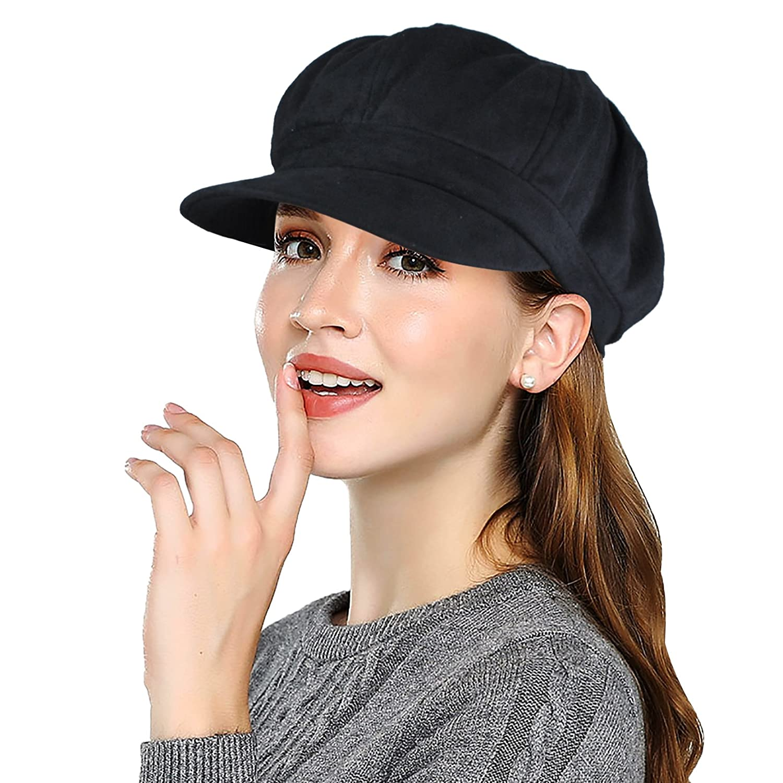EINSKEY Newsboy Cap Women Wool Cabbie Bakerboy Hat Beret Femme Spring Headwear