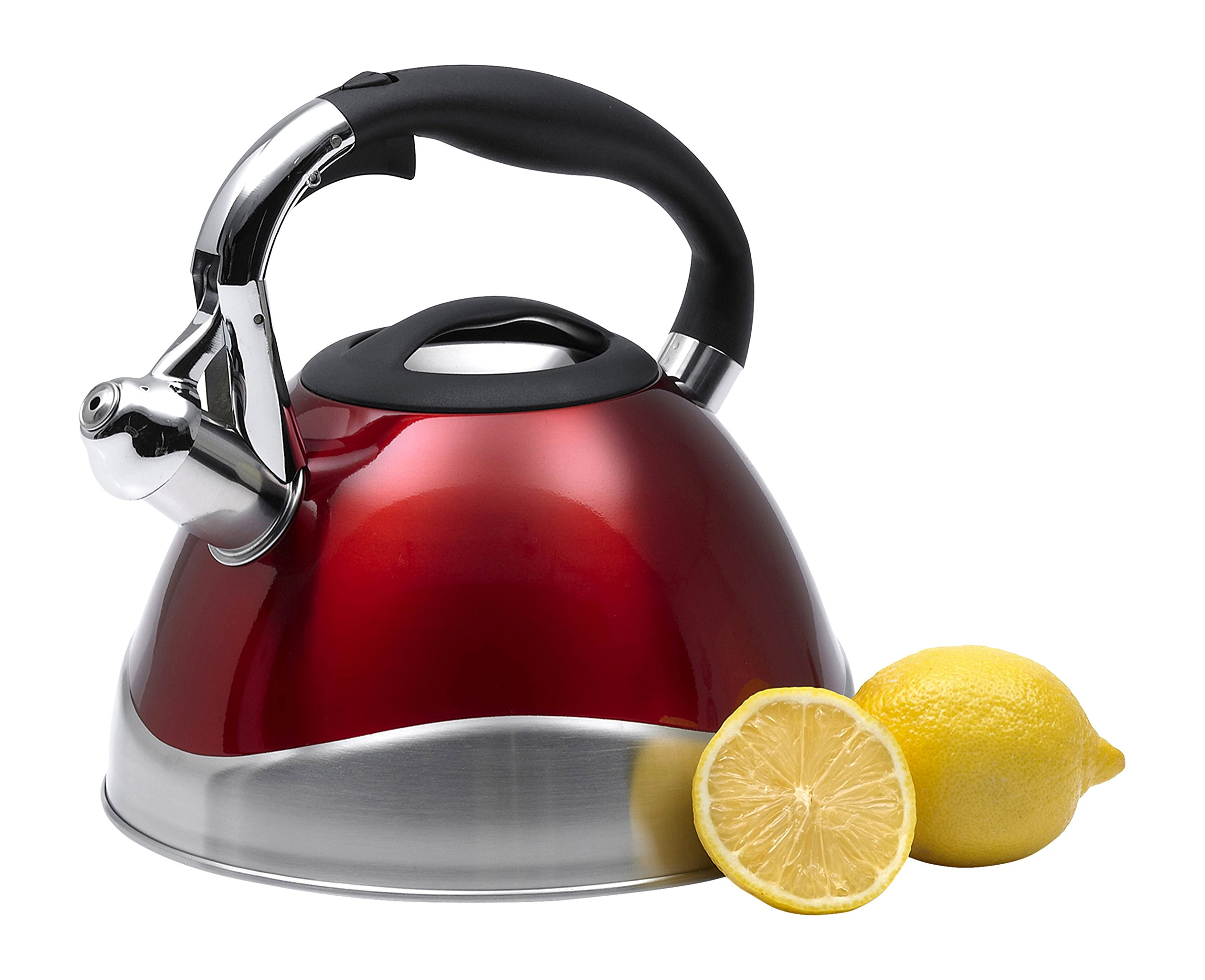 Creative Home Crescendo Whistling Tea Kettle, 3.1-Quart, Metallic Cranberry