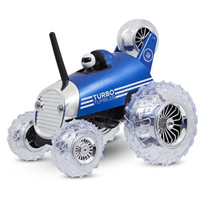 Sharper Image Premium Turbo Tumbler 49MHz Childrenís Remote Control Spinning 360∞ Rally Car Toy for Boys/Girls, Stunt RC Race Truck with Driver ñ Blue: Toys & Games