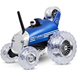 Sharper Image Premium Turbo Tumbler 49MHz Children's Remote Control Spinning 360° Rally Car Toy for Boys/Girls, Stunt RC Race Truck with Driver – BLUE
