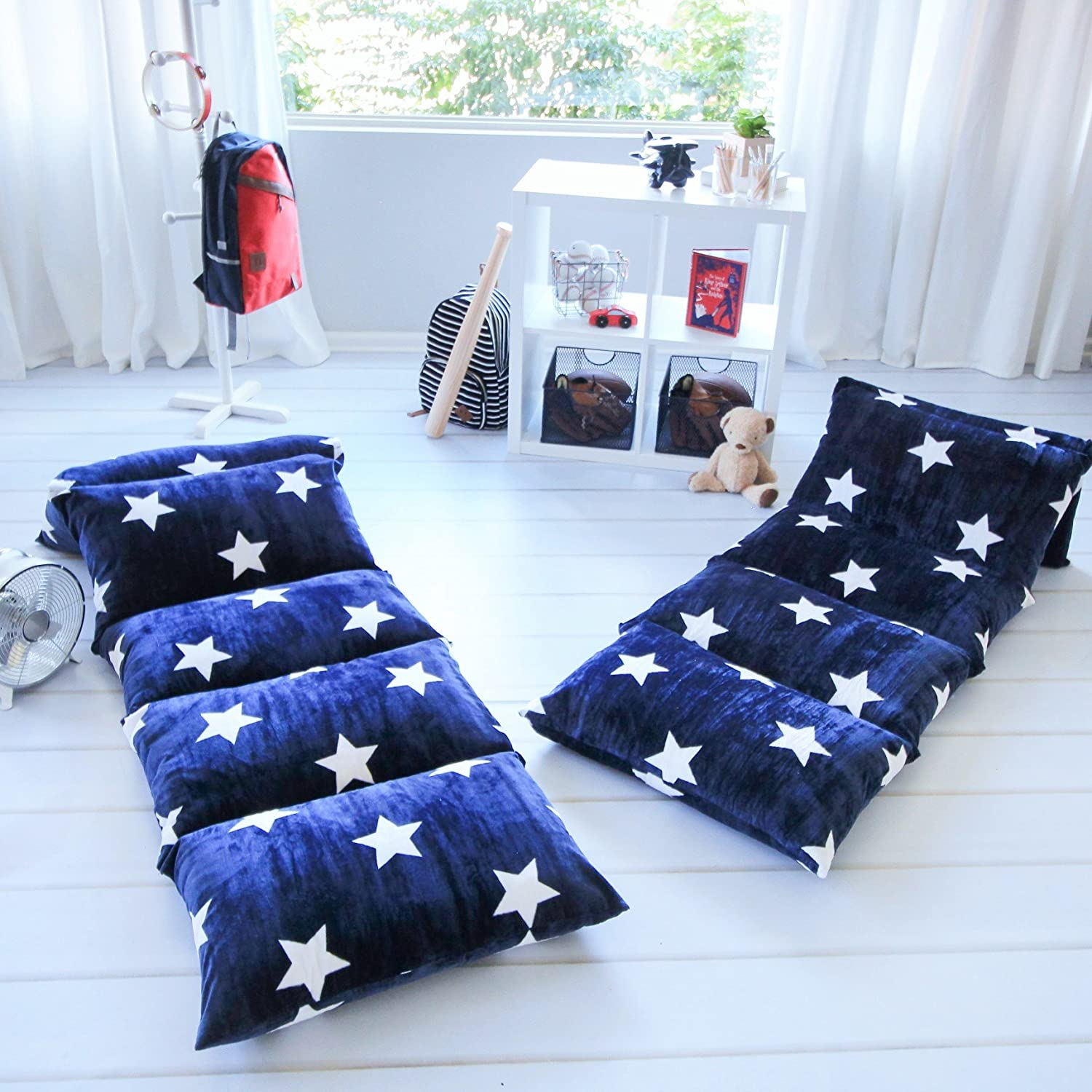 Kids Pillow Bed Cover Floor Pillow Lounger Cover Navy