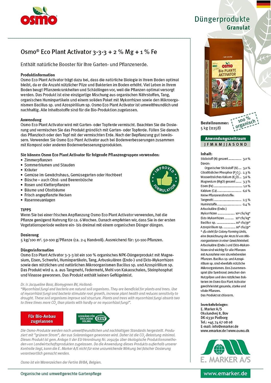 Osmo Bio Pflanzen AKTIVATOR Mit Mykorrhiza Pilzen 3 3 3 + 3 % Mg + 1 % Fe  5kg Sack Biologischer Naturdünger Ideal Zum Pflanzen Und Umtopfen Als  Wurzel Turbo ...