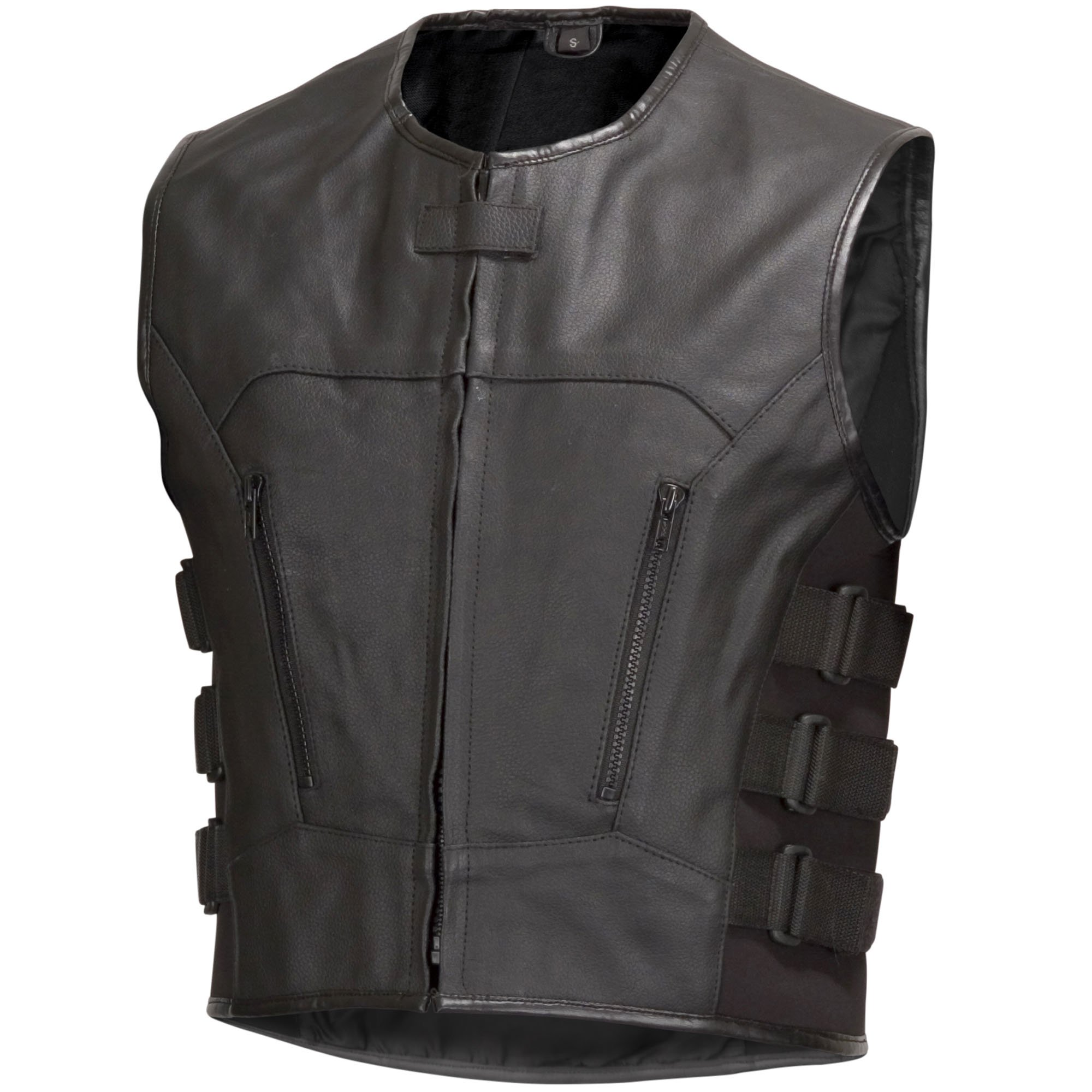 Men Premium Cowhide Leather Motorcycle Biker Bulletproof Style Vest Black (M)