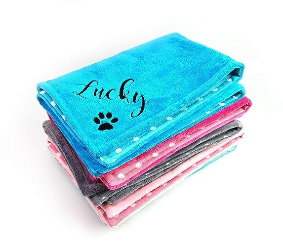 Personalized Pet Blanket Large Size optional Ivory Pink Dot Minky Back