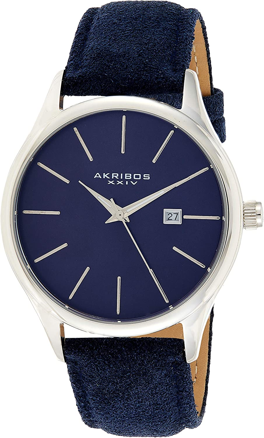 Akribos XXIV AK1019 Men's Suede Leather Watch – Classic Round Casual Designer Wristwatch Date Window Sunray Dial