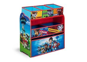 Holz Spielzeugregal Paw Patrol Mit 6 Boxen Organizer Kinderregal