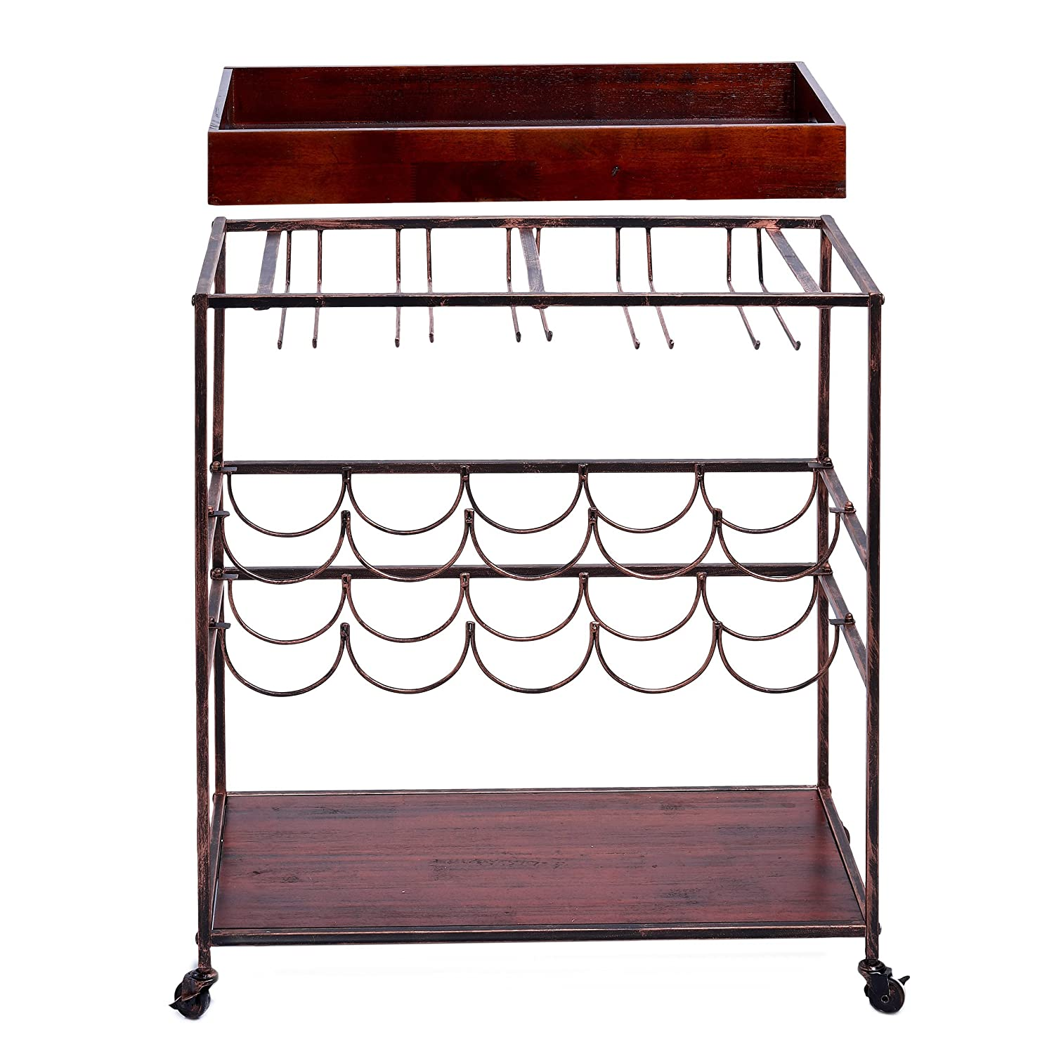 Old Dutch Avalon Wine and Serving Cart 28 x 16 x 32 Antique Copper//Rosewood