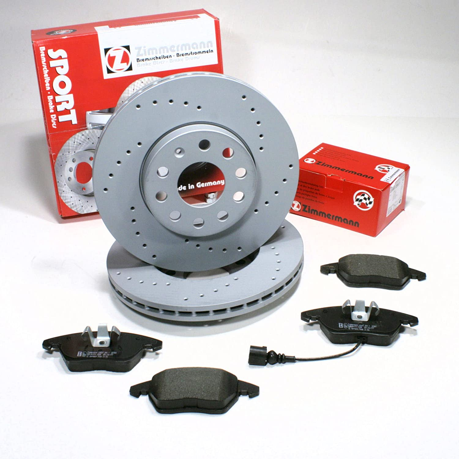 Zimmermann Sport Brake Discs 288 mm Diameter Coat Front Z Punched/with Brake Warning Wire Autoparts-Online
