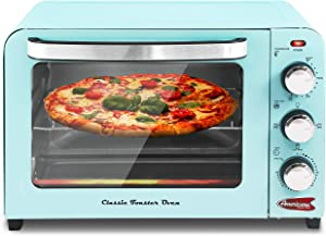 "Americana by Elite ERO-2600XBL Vintage Diner 50's Retro 12"" Pizza Countertop Toaster oven, Bake, Broil, Toast, Temperature Control & Adjustable Timer, 6 Slice, Blue"