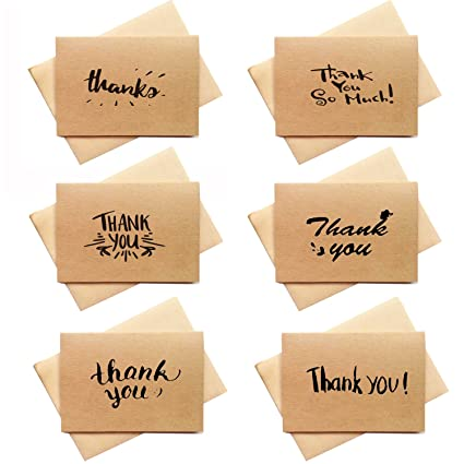 amazon com 36 packs rustic thank you cards brown kraft paper thank