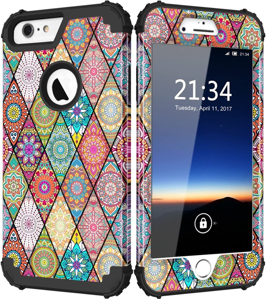 """Hocase iPhone 6s Plus Case, Drop Protection Shockproof Silicone Rubber Bumper+Hard Shell Hybrid Dual Layer Full-Body Protective Case for iPhone 6 Plus/iPhone 6s Plus 5.5"""" - Mandala Flowers/Black"""