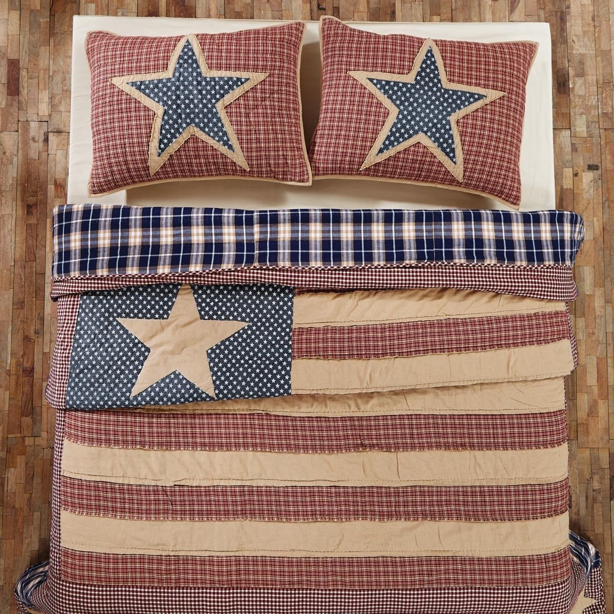1pc Boys USA Flag Stripe Theme Quilt King, Star, American Country, Red Navy Tan, Elegant Boho Chic Chekered Striped Bedding, Fun Horizontal Sports Plaided Themed Pattern by un (Image #1)