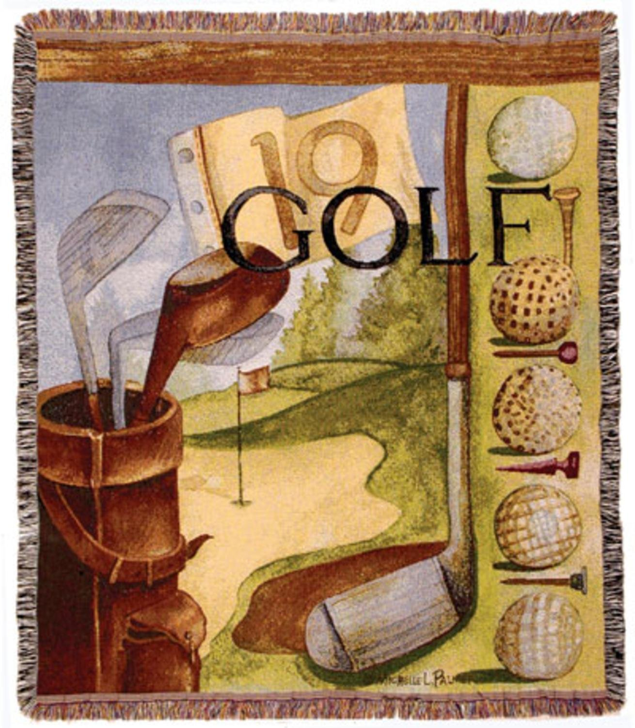 Amazon.com: Vintage Golf Mid-Size Deluxe Tapestry Throw Blanket USA ...