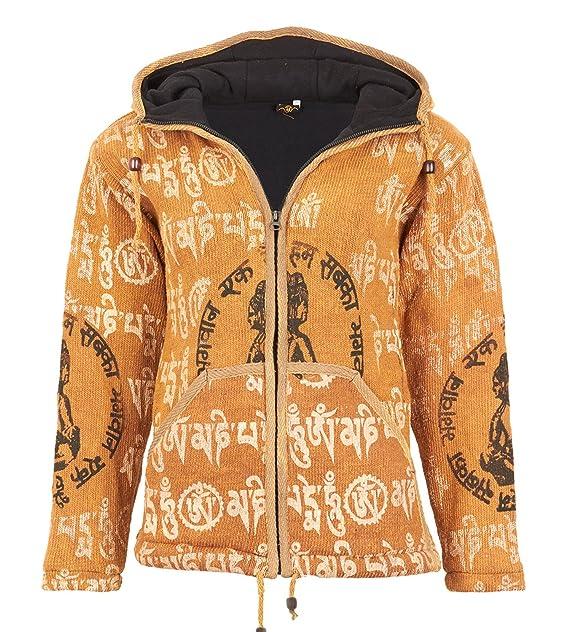 bbc909c51c72 Damen Strickjacke aus Baumwolle mit Kapuze Hippie Jacke Goa  Amazon ...