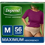 Depend FIT-Flex Incontinence Underwear for Women, Maximum Absorbency, M, Tan, 56 Count (Packaging May Vary)