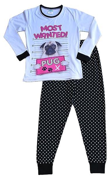 thepyjamafactory - Pijama - para niña Negro Blanco 7 años