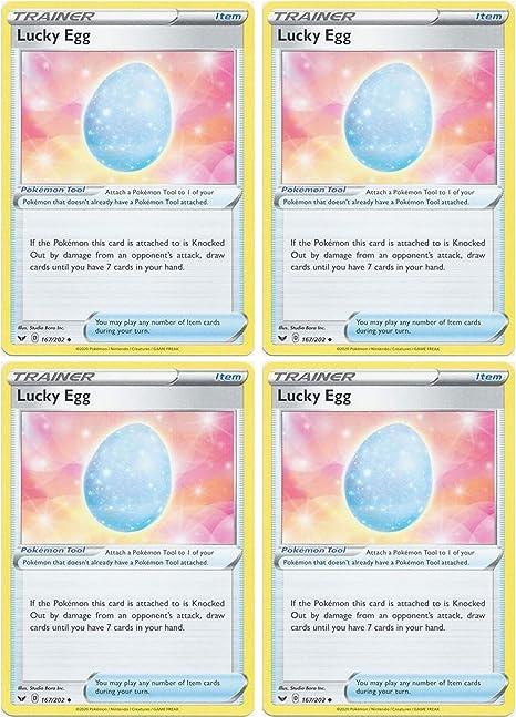 Base Set Uncommon SWSH 4x Pokemon Lucky Egg Playset 167//202